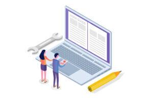 Illustration von zwei Menschen vor einem übergroßen Laptop auf dem eine Betriebsanleitung geöffnet ist.