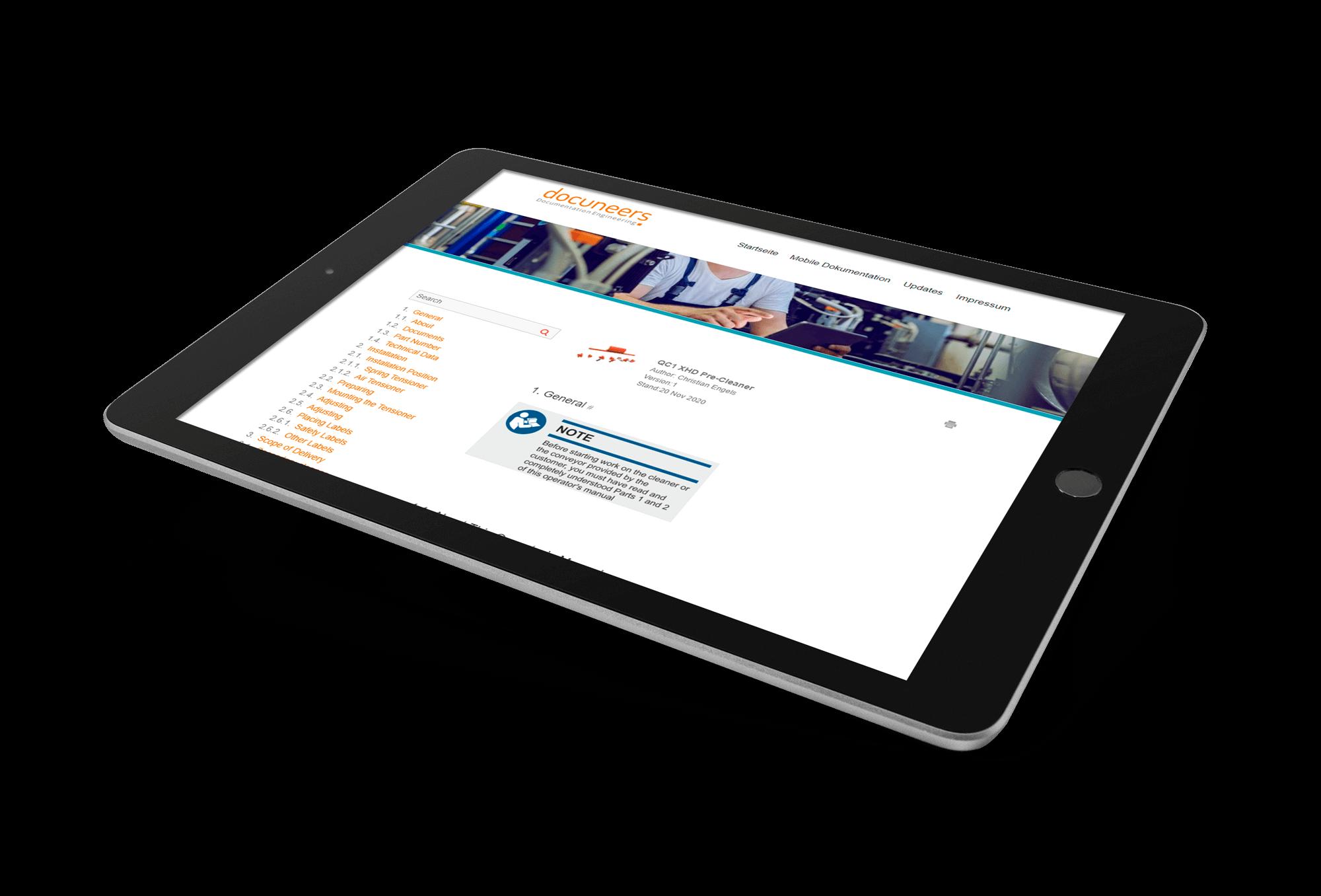 Tablet, auf dem eine mobile Technische Dokumentation geöffnet ist.