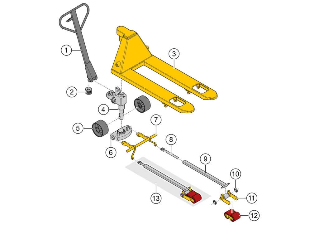 Zeichnung eines Hubwagens für Ersatzteilkataloge